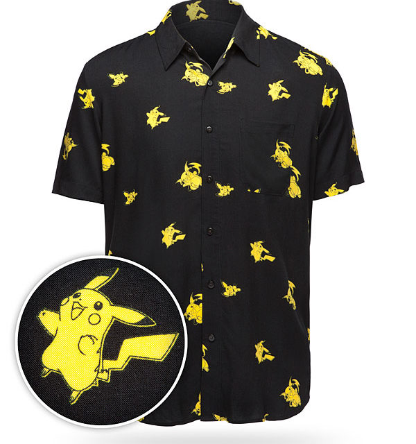 Pikachu Evolution Short Sleeve Button-Up Shirt