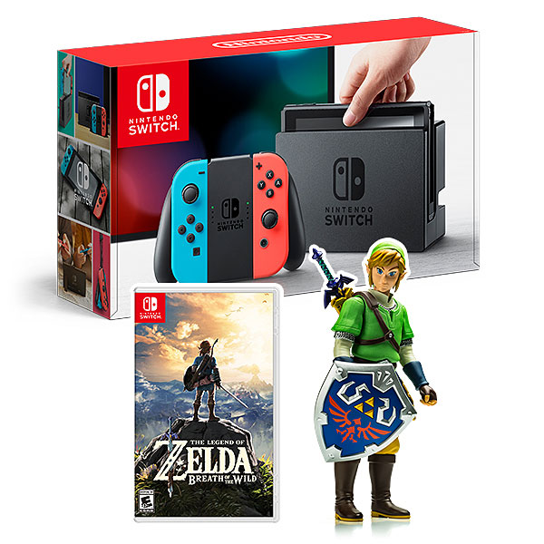 Nintendo Switch Red/Blue w/BotW + Link Figure