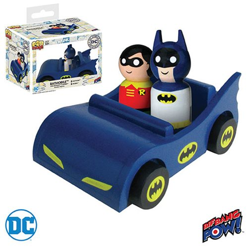 Batmobile with Classic Batman and Robin Pin Mate Wooden Figure Set