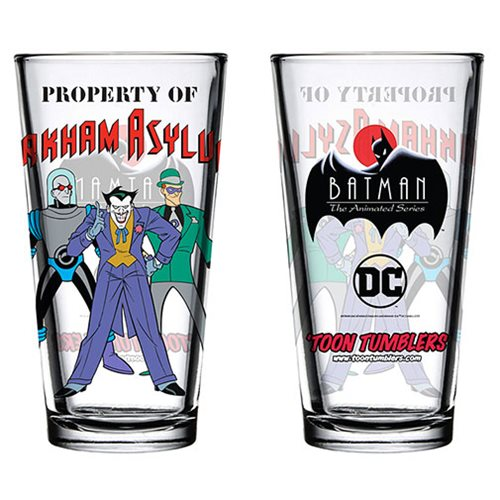 Batman: The Animated Series Property of Arkham Asylum Toon Tumbler Pint Glass