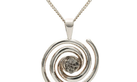 Spiral Galaxy Meteorite Pendant Necklace