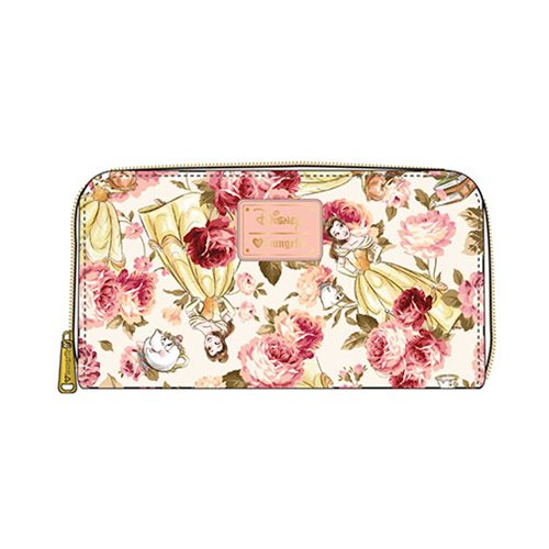 Beauty and the Beast Belle Character Floral Print Zip-Around Wallet
