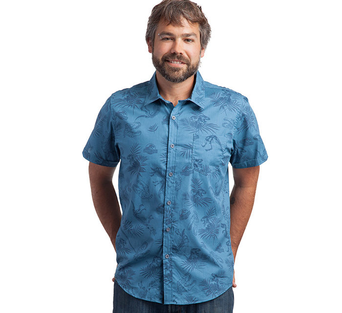 Jurassic Park Fossil Print Button-Down Shirt