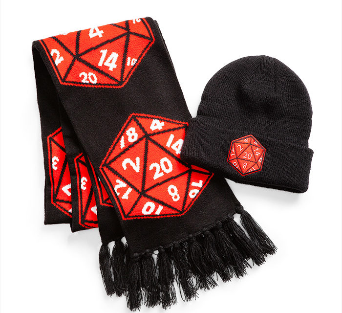 Crit Success D20 Beanie and Scarf Set
