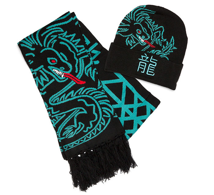 Neon Dragon Beanie and Scarf Set