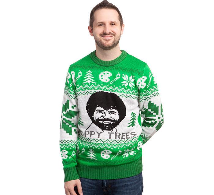 Bob Ross Happy Trees Holiday Sweater
