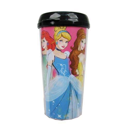 Disney Princesses Ariel, Cinderella, and Belle 16 oz. Plastic Travel Mug