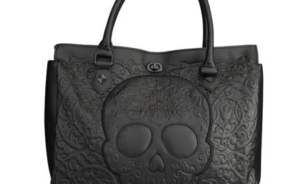 Black Lattice Skull Tote