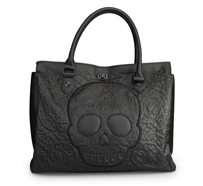 Black Lattice Skull Tote