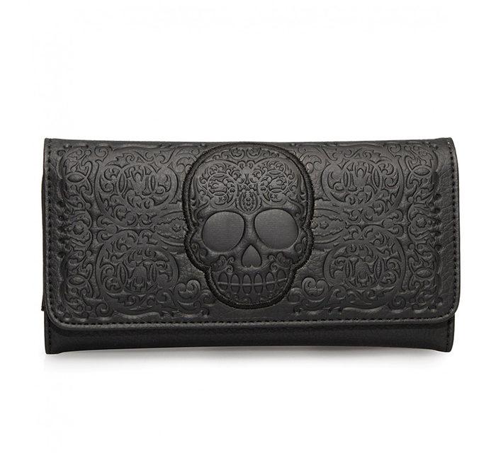 Black Lattice Skull Wallet