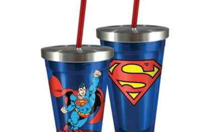 Superman 16 oz. Stainless Steel Travel Cup with Straw