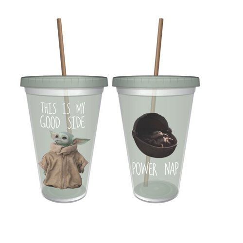 Mandalorian The Child This Is My Good Side 16 Oz. Acrylic Cup with Straw